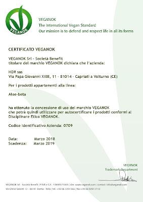 Certificazioni ottenute da HDR Certificazione vegan OK