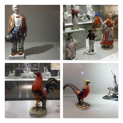 várias peças de cerâmica, expostas no Museu da Vista Alegre