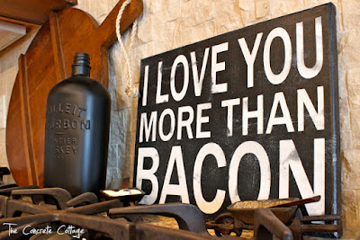 valentine's day diy wall art i love you more than bacon sign