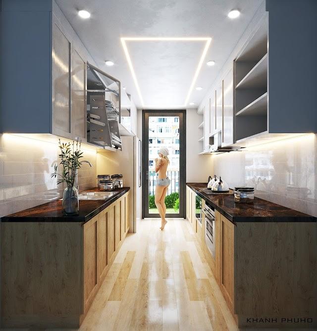 Kiểu bếp nhỏ xinh cho căn hộ chung cư kèm model SU để tải