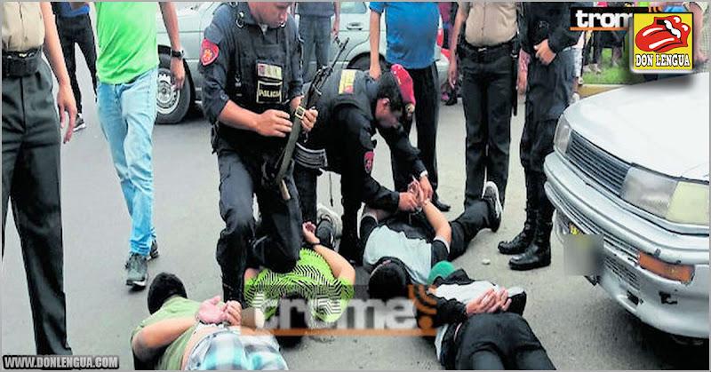 Dos venezolanos capturados asaltando una tienda en Perú