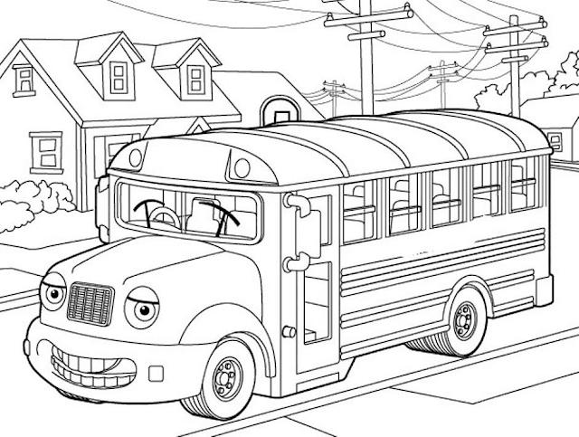 Gambar Mewarnai Bus Sekolah - 10
