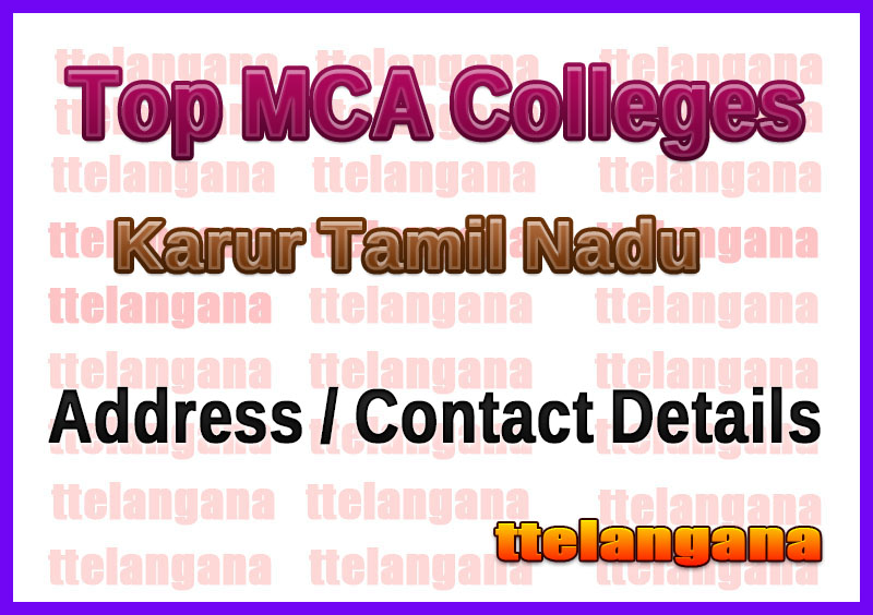 Top MCA Colleges in Karur Tamil Nadu