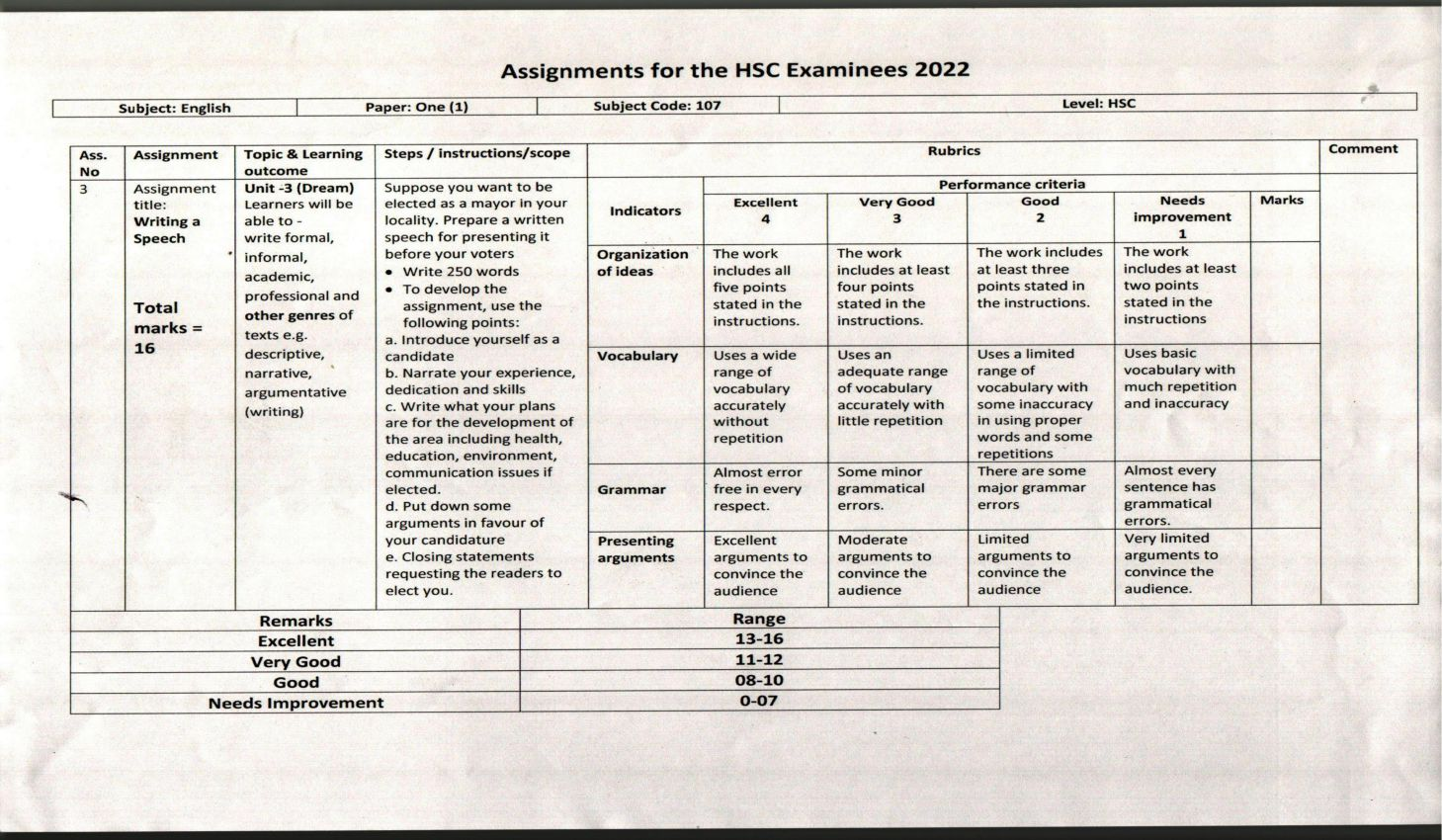 HSC 7th Week Assignment 2022 Answer All Subjects