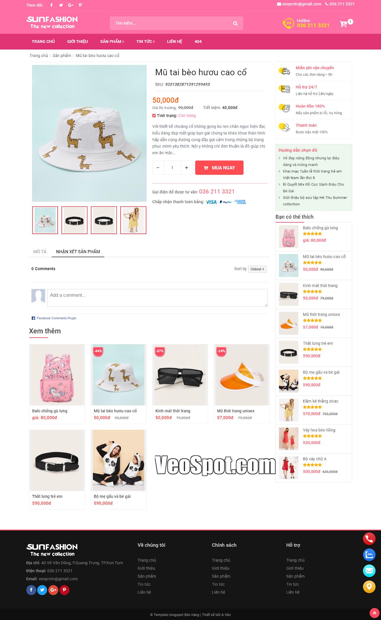 Template Blogspot SunFasun trang bài viết, comments Facebook