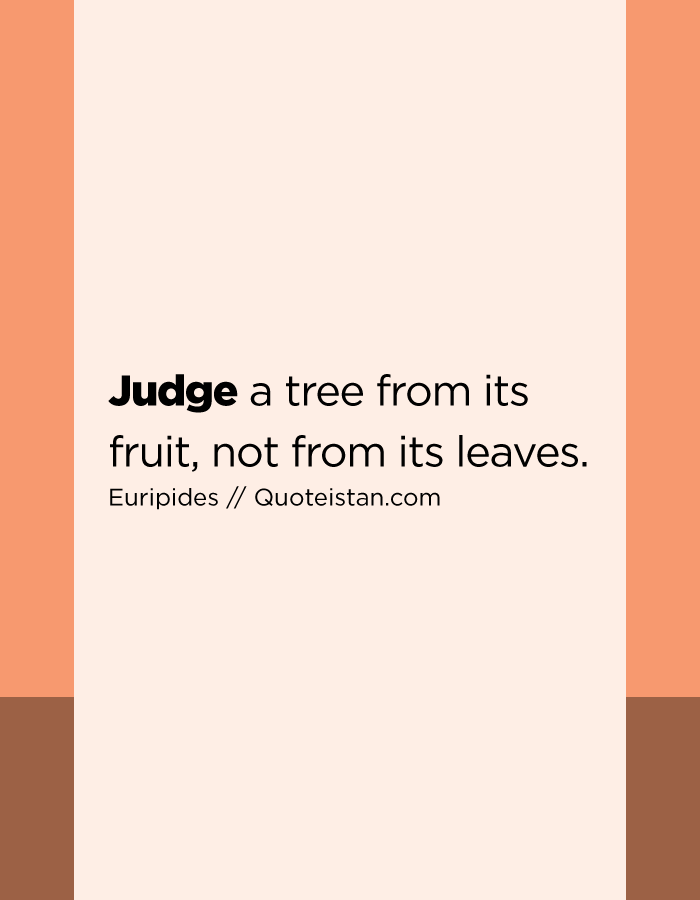Judge a tree from its fruit, not from its leaves.