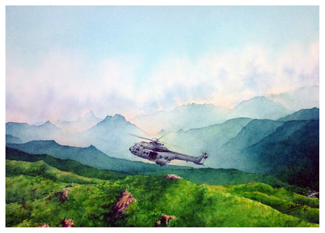 aquarelle, hélicoptère, AS-532-UL Cougar, GAM 56,