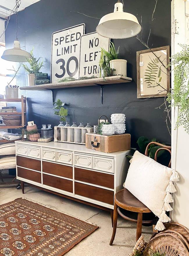 vintage modern vintage booth with mcm dresser