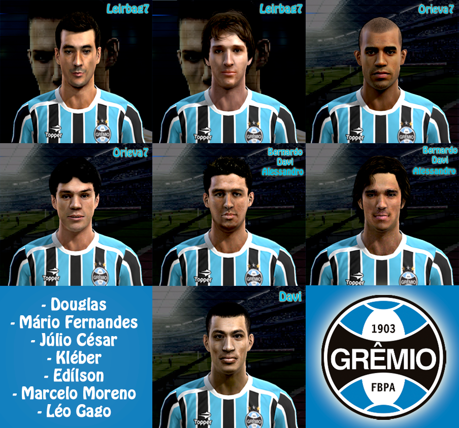 Artesanato Historia ~ Edition Soccer Tudo para PES 2013 e FIFA 13 PES 2012 Mega Facepack jogadores do Gr u00eamio