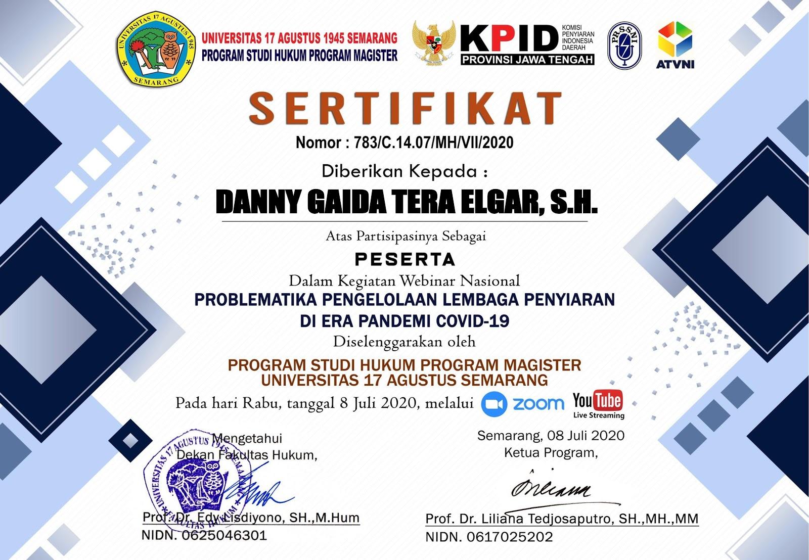 Sertifikat Program Magister (S2) Ilmu Hukum Universitas 17 Agustus 1945 (UNTAG) Semarang | Problematika Pengelolaan Lembaga Penyiaran Di Era Pandemi COVID-19