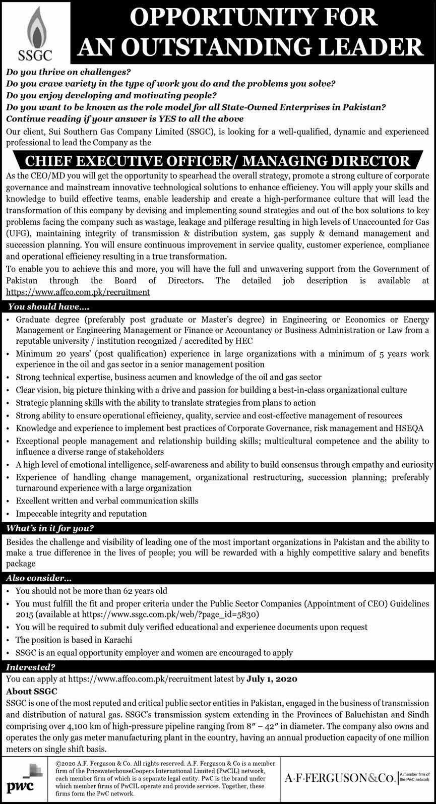 Chief Executive Officer CEO Jobs in Sui Southern Gas
