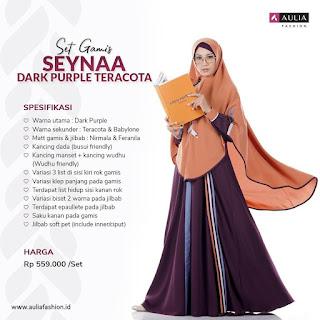 Koleksi Gamis Syari Muslimah Seynaa Dark Purple Teracota Set Syari by AULIA Fashion
