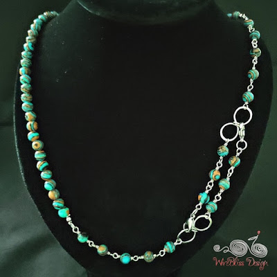 Blue Lace Malachite Face Mask Chain with Wire Infinity Knot as Necklace