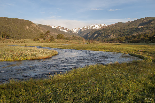 Sunrise on Moraine Park with the Big Thompson River in springtime Rocky Mountain National Park, Colorado