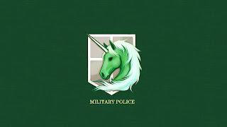 Zielona tapeta HD z logiem korpusu żandarmerii z anime Shingeki no Kyojin