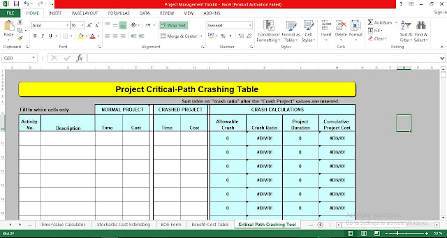 Project Critical Path Crashing Table