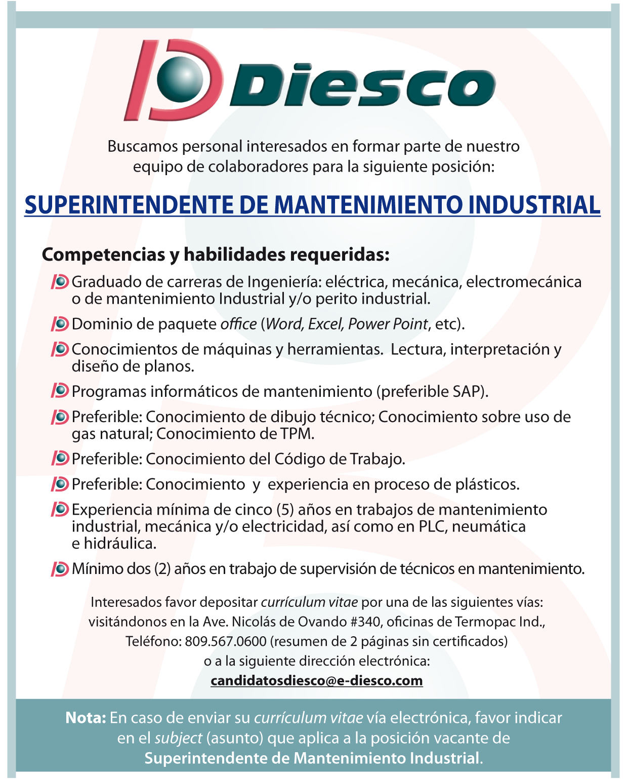 Empleo Superintendente de Mantenimiento Industrial | Ayuda Empleos ...