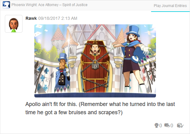 Phoenix Wright Ace Attorney Spirit of Justice Apollo locked in a coffin Trucy magic show