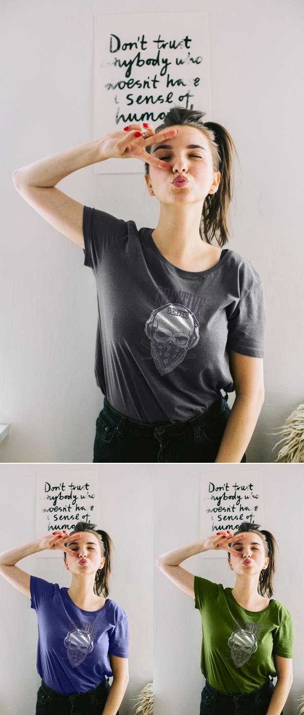 Download Free Mockup PSD 2018 - Free Women's T-Shirt Mockup PSD