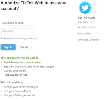 Tiktok Login through Twitter Email Id and password