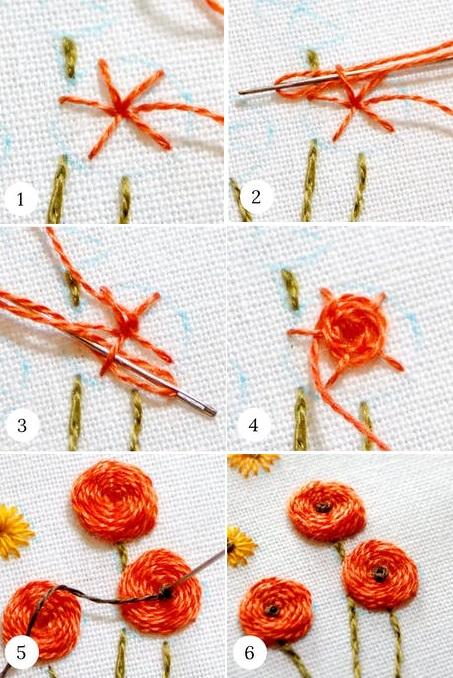 Hướng dẫn thêu hoa bằng mũi thêu woven wheel Stitch