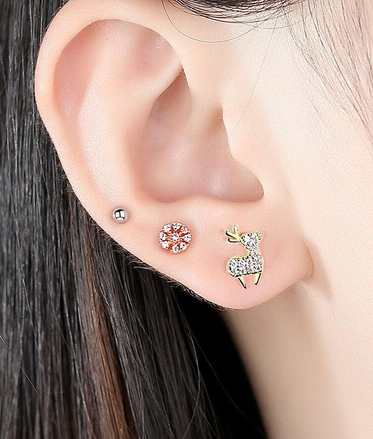 粉花 ‧小鹿 ‧珠珠 925純銀耳環