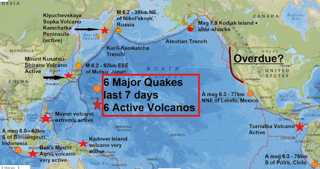 its now 6 major quakes and 6 extremely active volcanoes in the last 7 days disaster imminent