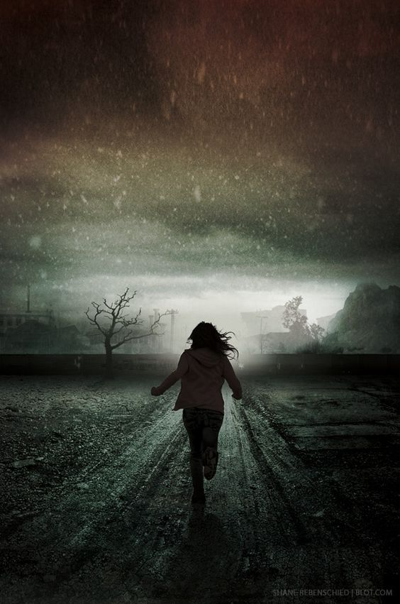 a girl running at night