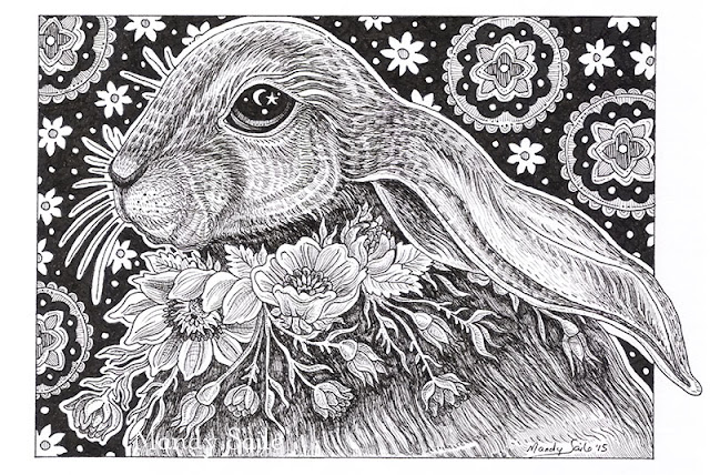Mandy Saile, Ink drawing, rabbit drawing, rabbits, bunnies, art