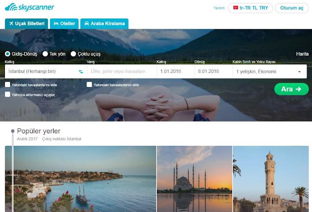 otel arama siteleri - skyscanner - seyahat önerileri