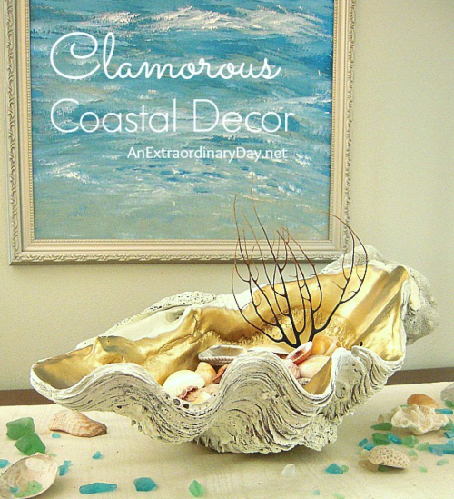 Gold Painted Clam ShellBowl