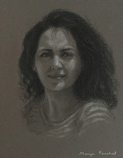 Portrait drawing on Canson Mi Teintes paper