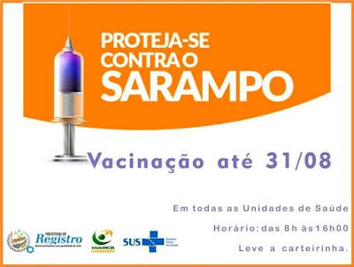 Registro-SP inicia 2ª fase da Campanha de Vacinação contra o Sarampo