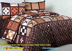 Sprei Custom Katun Lokal Dewasa Lv Mono Kotak Pattern Coklat