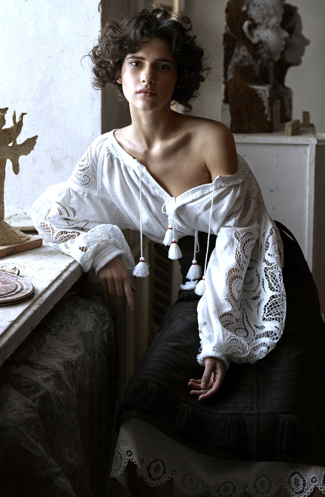 Peasant & gypsy blouse shopping list & inspiration / Iana Godnia in Vogue Ukraine March 2016 (photography: Phil Poynet, styling: Julie Pelipas) via www.fashionedbylove.co.uk