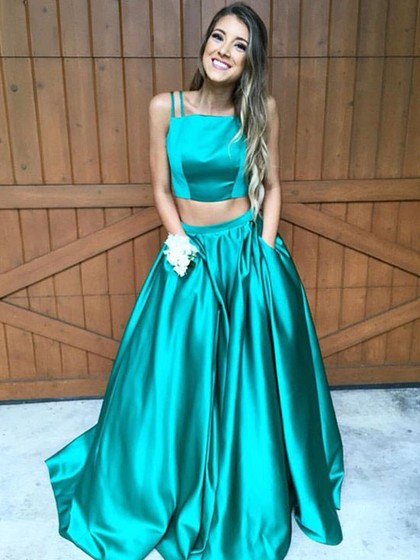 Fashion A-line Square Neckline Satin Sweep Train Pockets Two Piece Prom Dress