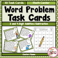 Word Problem Task Cards using 3 Digit Addition and Subtraction
