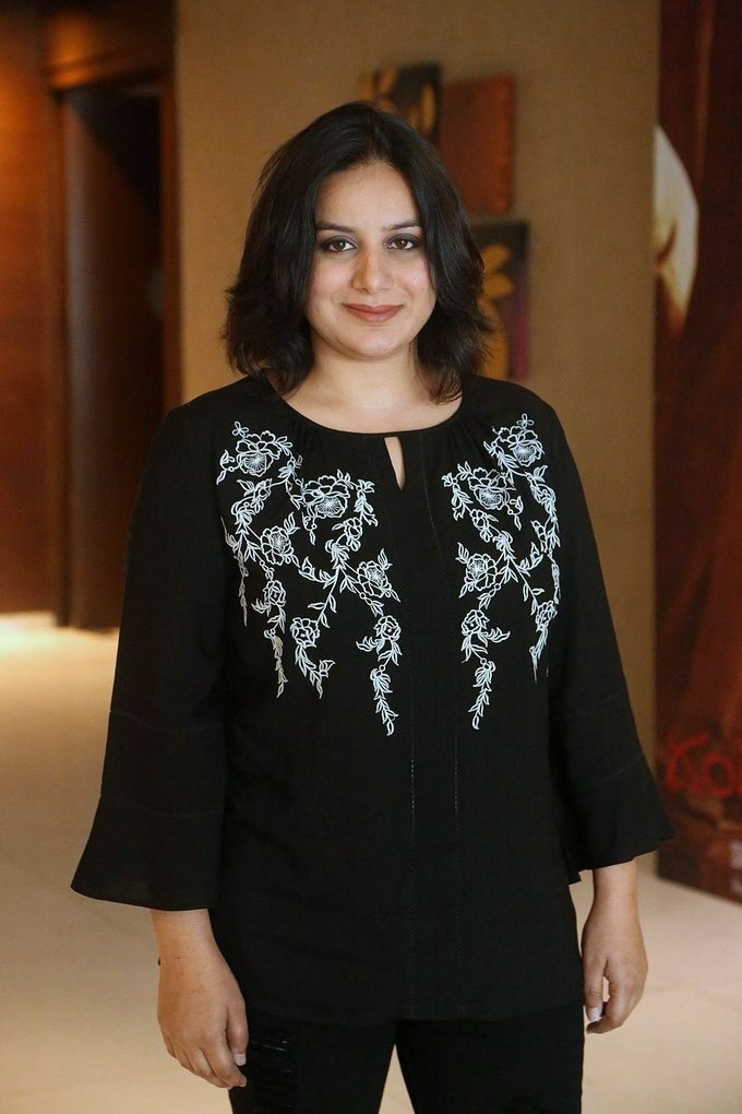 Beautiful Bangalore Girl Pooja Gandhi Long Hair Stills In Black Dress