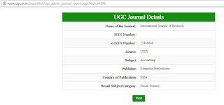 UGC Approved List of Journals for Publication