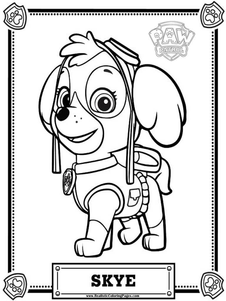 Princess Coloring Pages Printable Paw Patrol Skye