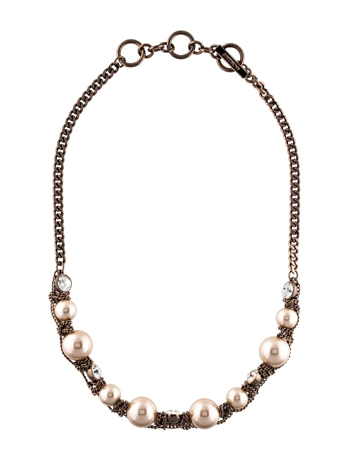 Gold-Tone Givenchy Curb Chain Collar Necklace with Faux Pearls, Crystals and Toggle Closure
