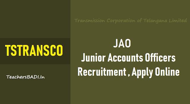 tstransco junior accounts officers(jao) recruitment 2018,transmission corporation of telangana jao recruitment online application form,tstransco jaos recruitment 2018 hall tickets results selection list results