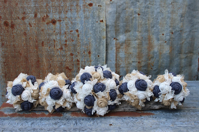 navy burlap bouquet