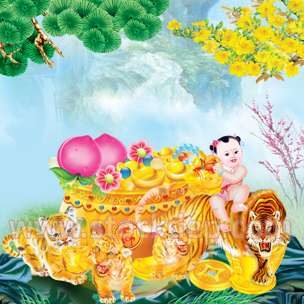 Vector Con hổ Vàng in lịch Tết