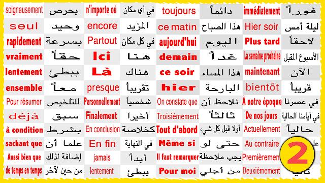 تعلم الفرنسية بسهولة جمل وكلمات لا غنى عنها للمبتدئين للحفظ بسرعة + مكتوبة ومترجمة بالعربية (2) - Learn French