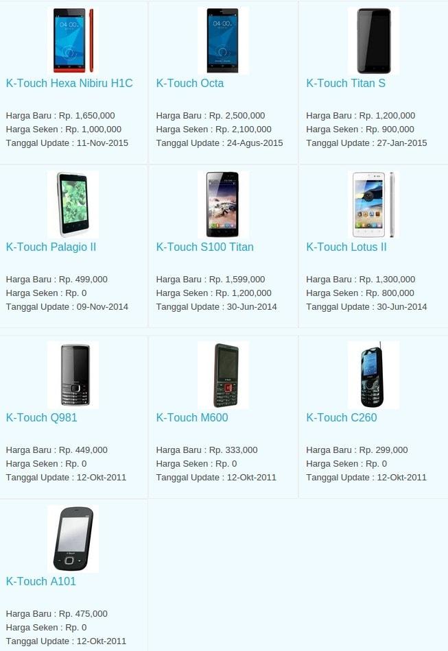 Daftar Harga Hp Terbaru K-Touch Juli 2016