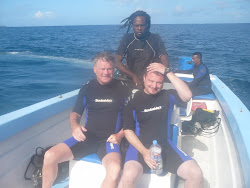 "Me, Steve and ""Captain"" headed out to scuba dive, Tabago"