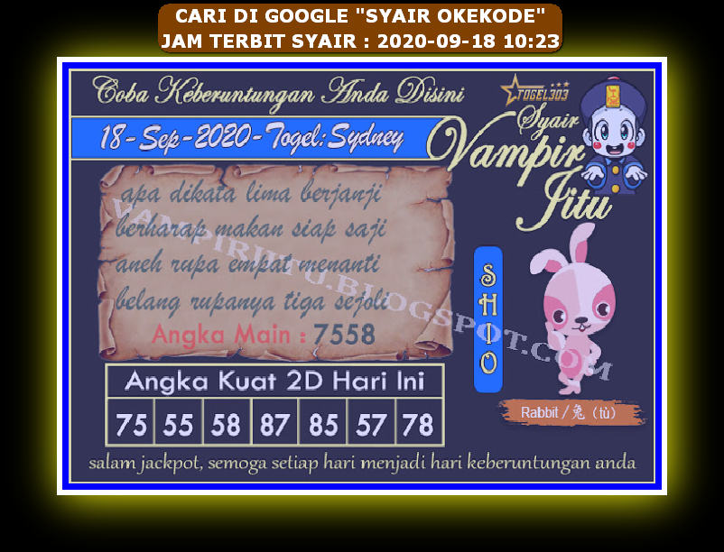Kode syair Hongkong Sabtu 19 September 2020 84