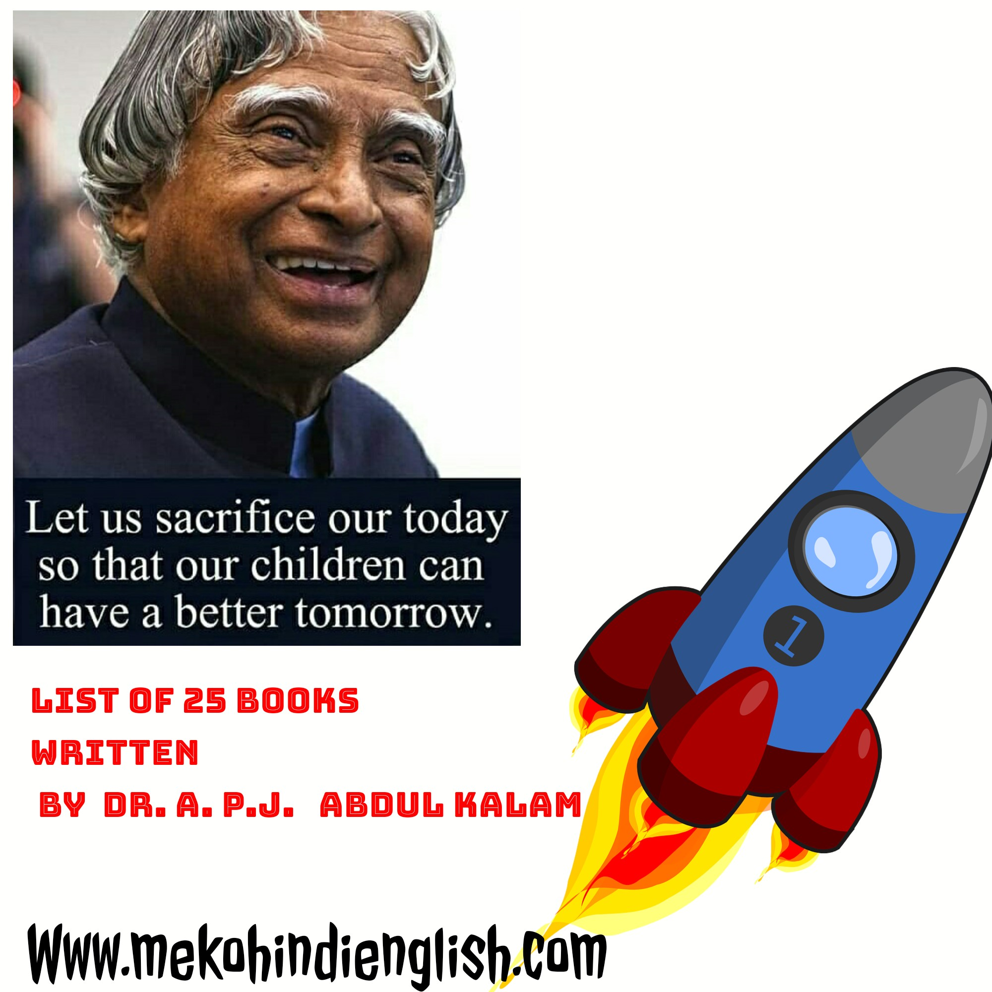 डॉ ए. पी. जे. अब्दुल कलाम द्वारा लिखी गयी 25 पुस्तकों की सूची