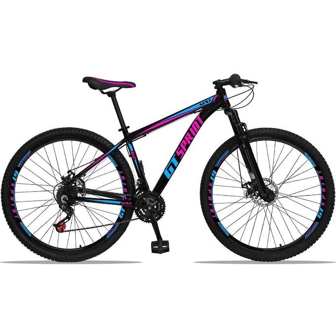Bicicleta Aro 29 GT Sprint Mx1 Alumínio Freio a Disco e Suspensão - Azul e Rosa